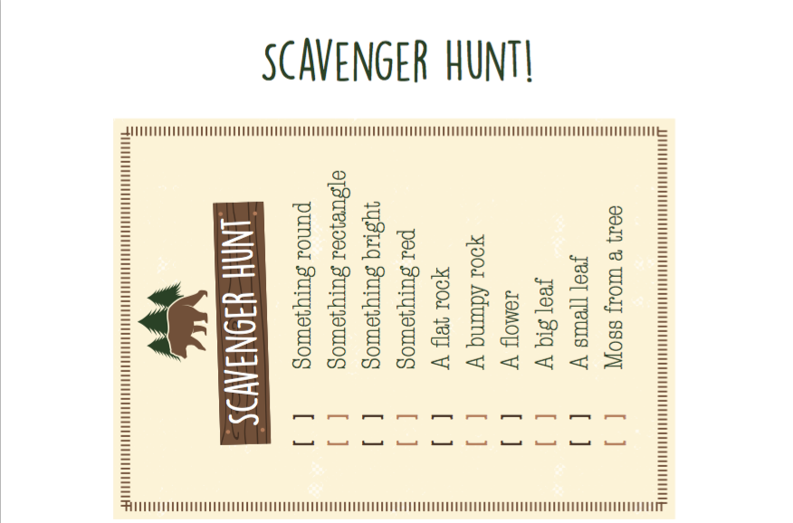photo relating to Camping Scavenger Hunt Printable named Tenting Birthday Scavenger Hunt Chortle Journal